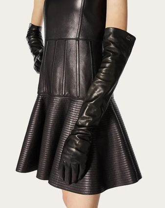 VALENTINO VLOGO Silk Leather Logo Leather & Faux Leather Gloves