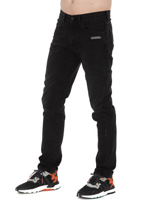 Off-White Tapered Pants Wool Cotton Logo Joggers Jeans