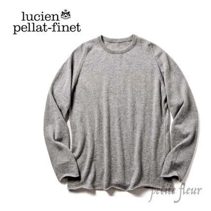 Crew Neck Pullovers Cashmere Long Sleeves Plain Luxury