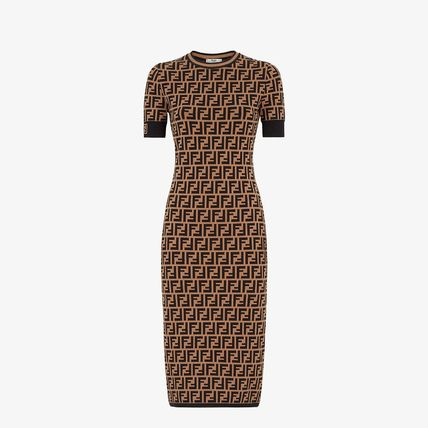 FENDI Monogram Tight Blended Fabrics Medium Short Sleeves