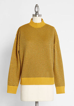 Stripes Casual Style Long Sleeves Medium V-neck & Crew neck