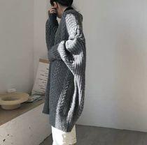 Cable Knit Casual Style Long Sleeves Plain Long Gowns