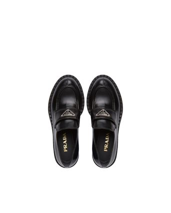 PRADA Rubber Sole Leather Party Style Office Style Elegant Style