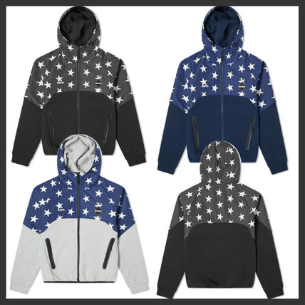Star Unisex Street Style Long Sleeves Cotton Hoodies