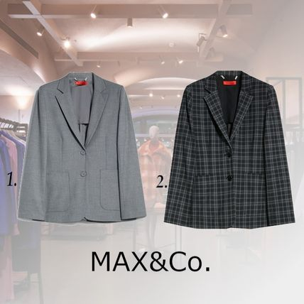 Max&Co. Other Plaid Patterns Casual Style Plain Medium Office Style
