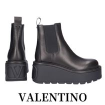 VALENTINO VLOGO Platform Plain Toe Casual Style Street Style Plain Leather