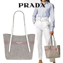 PRADA Casual Style A4 Plain Leather Party Style Office Style