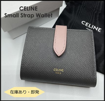 CELINE Small Strap Wallet In Bicolour Grained Calfskin