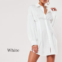 Missguided Short Casual Style Tight A-line V-Neck Long Sleeves Plain