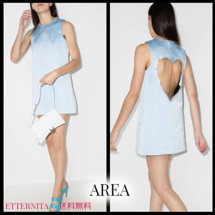 Short Heart Casual Style A-line Sleeveless Plain Cotton