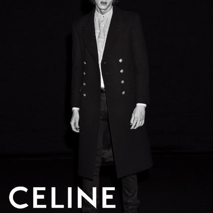 CELINE Wool Blended Fabrics Plain Long Logo Peacoats Coats