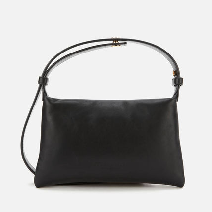 Plain Leather Logo Handbags