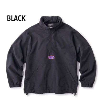 Nylon Street Style Bi-color Plain Nylon Jacket  Logo Jackets