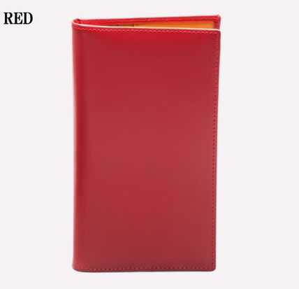 Blended Fabrics Plain Leather Handmade Folding Wallet