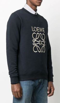 LOEWE Sweatshirts Crew Neck Long Sleeves Cotton Logo Luxury Sweatshirts 5