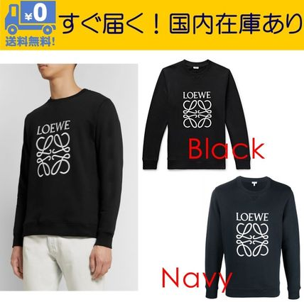 LOEWE Sweatshirts Crew Neck Long Sleeves Cotton Logo Luxury Sweatshirts