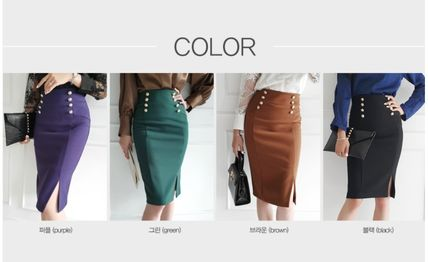 Pencil Skirts Casual Style Plain Medium Long Party Style