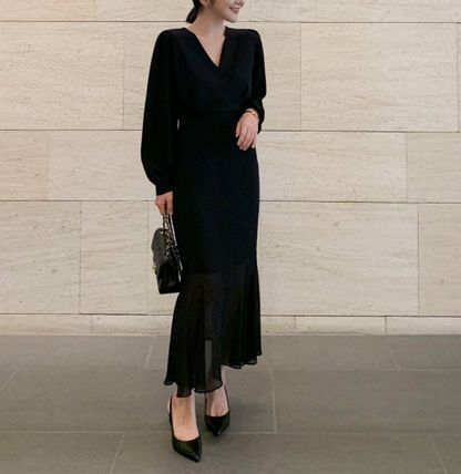 Wrap Dresses Casual Style Tight Flared V-Neck Long Sleeves