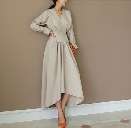 THE COCO Wrap Dresses Casual Style A-line Flared V-Neck Long Sleeves