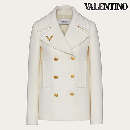 VALENTINO Logo Wool Plain Medium Elegant Style Peacoats