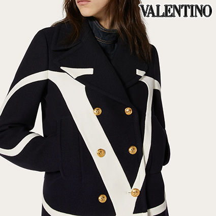 VALENTINO Wool Plain Medium Elegant Style Logo Peacoats