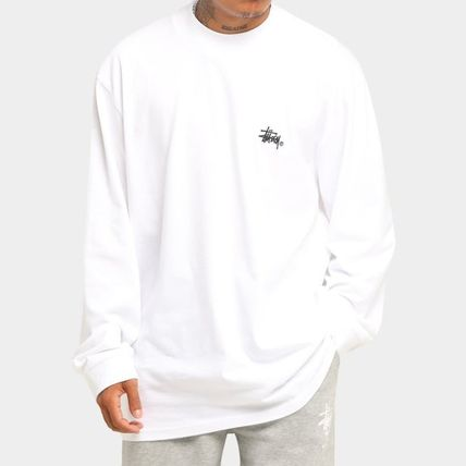 STUSSY Long Sleeves Plain Cotton Long Sleeve T-shirt Logo
