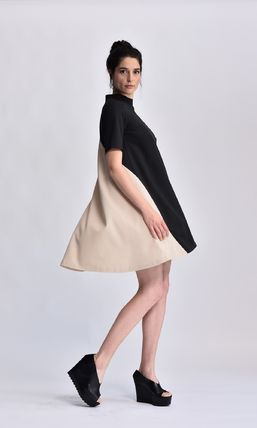 Short Casual Style A-line Plain Short Sleeves High-Neck