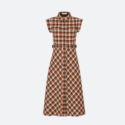 Christian Dior Front Button Other Plaid Patterns Casual Style A-line Wool