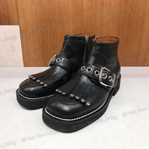 MARNI Square Toe Casual Style Studded Plain Leather Fringes
