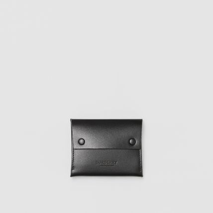 Burberry Calfskin Plain Leather Logo Card Holders