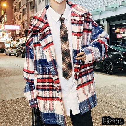 Glen Patterns Street Style Oversized Peacoats Coats