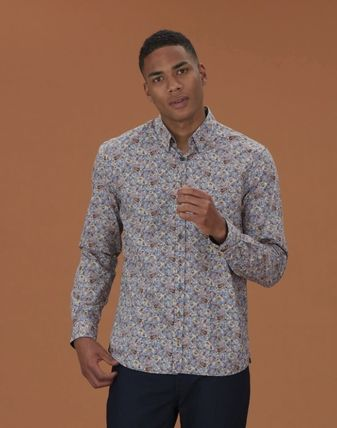 Flower Patterns Paisley Long Sleeves Cotton Shirts