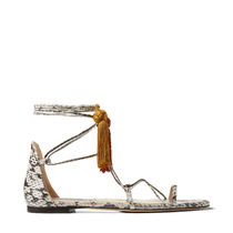 Jimmy Choo Open Toe Square Toe Casual Style Tassel Leather Python