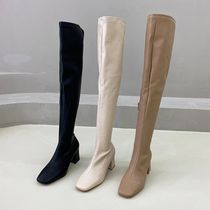Square Toe Faux Fur Chunky Heels Over-the-Knee Boots