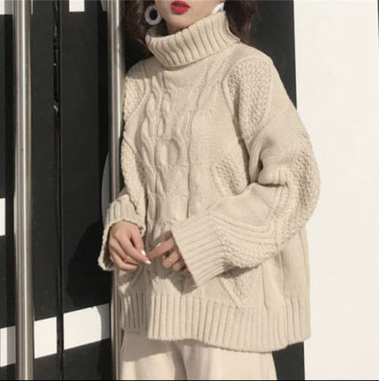 Cable Knit Casual Style Long Sleeves Plain Long Turtlenecks