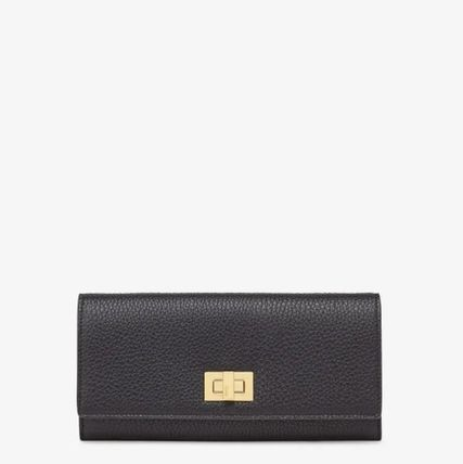 FENDI SELLERIA Calfskin Plain Icy Color Long Wallets