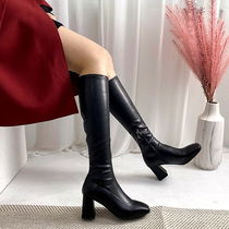 Square Toe Casual Style Suede Faux Fur Plain Chunky Heels