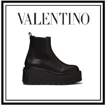 VALENTINO Casual Style Street Style Plain Chelsea Boots Party Style