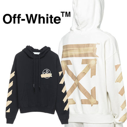 Off-White Hoodies Pullovers Unisex Sweat Street Style Long Sleeves Cotton Logo
