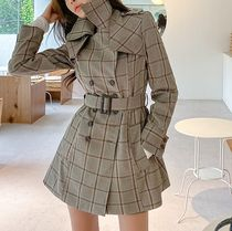 Short Gingham Trench Coats