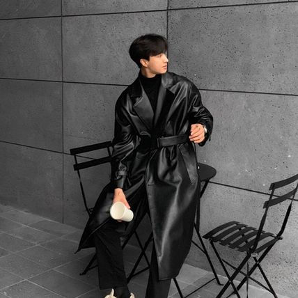 Faux Fur Street Style Plain Long Oversized Trench Coats