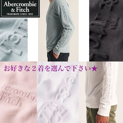 Abercrombie & Fitch Long Sleeve Crew Neck Street Style Long Sleeves Plain Cotton