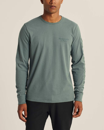 Abercrombie & Fitch Long Sleeve Crew Neck Street Style Long Sleeves Plain Cotton 14