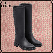 FENDI Casual Style Plain Leather Office Style Logo Flat Boots