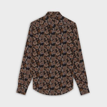 CELINE Shirts Button-down Unisex Silk Blended Fabrics Street Style 3