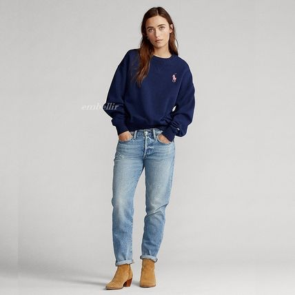 Ralph Lauren Crew Neck Street Style Long Sleeves Cotton Logo