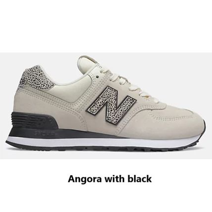 New Balance 574 Leopard Patterns Round Toe Lace-up Casual Style Suede Logo