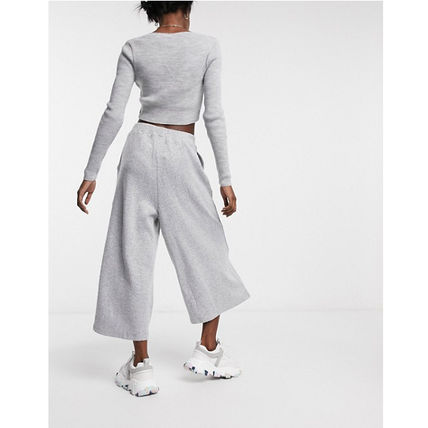 Casual Style Blended Fabrics Plain Long Culottes