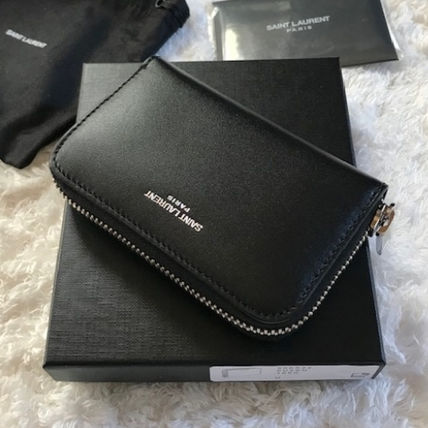 Saint Laurent Leather Long Wallet  Logo Coin Cases