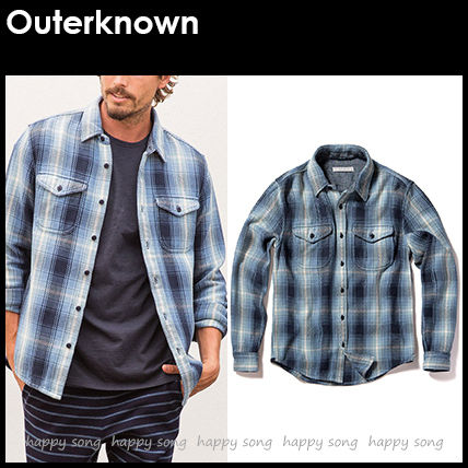Outer known Shirts Button-down Other Plaid Patterns Unisex Street Style